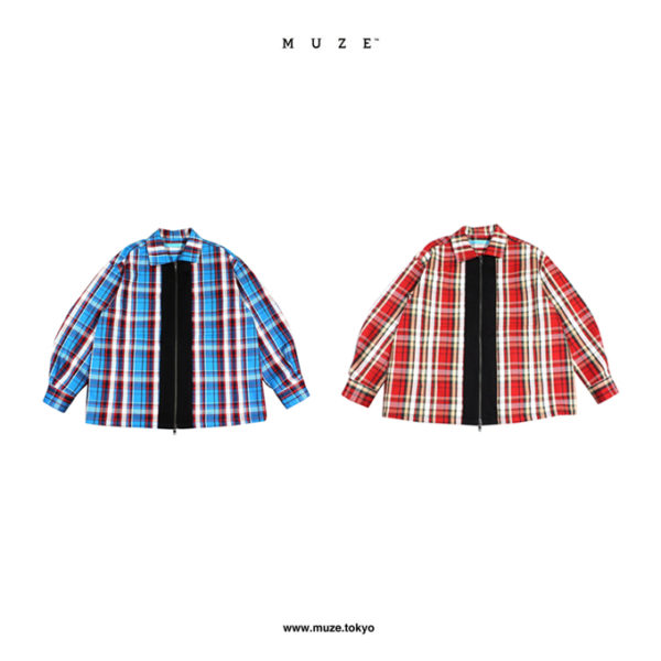 【NEW ARRIVAL】MUZE TURQUOISE LABEL – FLANNEL CHECK ZIP BLOUSON