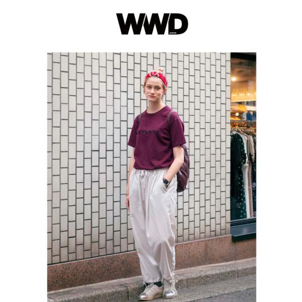 WWDのストリートスナップ特集ページにて弊社プレスのアナのスタイリングを掲載頂きました。